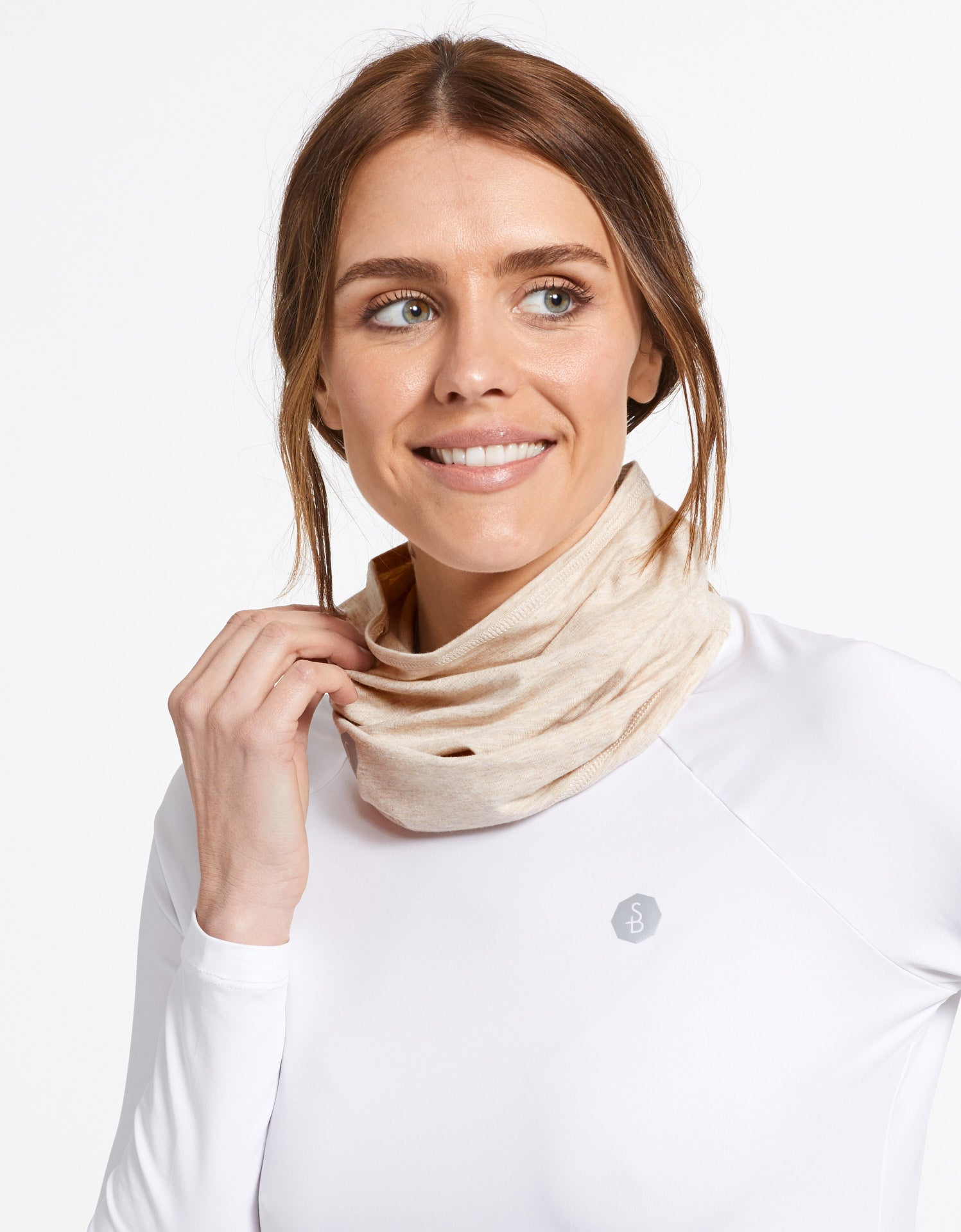 Solbari Sun Protection UPF50+ Face & Neck Gaiter Sensitive Collection in Oatmeal