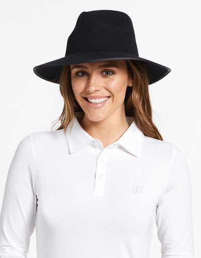 Solbari Sun Protection UPF50+ Women's Byron Fedora in Black with Matte Black SB Pin