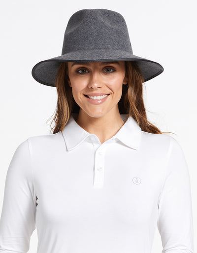 Solbari Sun Protection UPF50+ Women's Byron Fedora in Charcoal Grey with Matte Black SB Pin