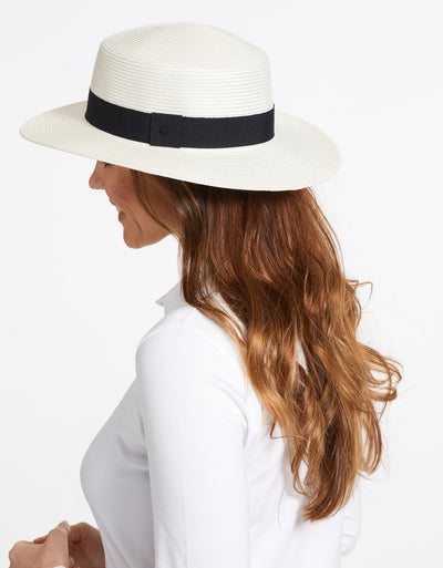 Solbari Sun Protection UPF50+ Boater Sun Hat in Ivory