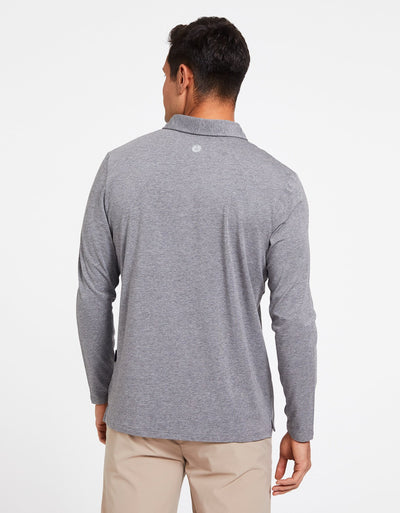 Solbari Sun Protection Men's UPF50+ Long Sleeve Polo Shirt Sensitive Collection in Dark Grey