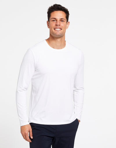 Solbari Sun Protection Men's UPF50+ Long Sleeve T-Shirt in White Sensitive Collection