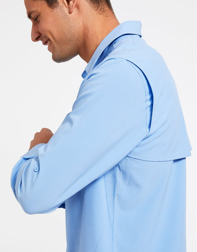 Solbari Sun Protection Men's UPF50+ Fishing & Hiking Shirt in Blue