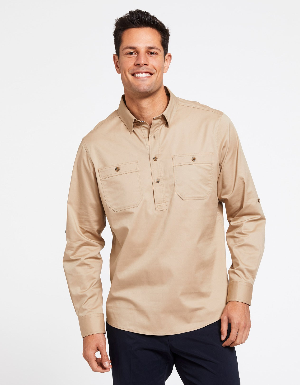Solbari Sun Protection Men's UPF50+ Outback Half Placket Shirt in Safari Technicool Collection