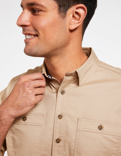 Solbari Sun Protection Men's UPF50+ Outback Shirt in Safari Technicool Collection