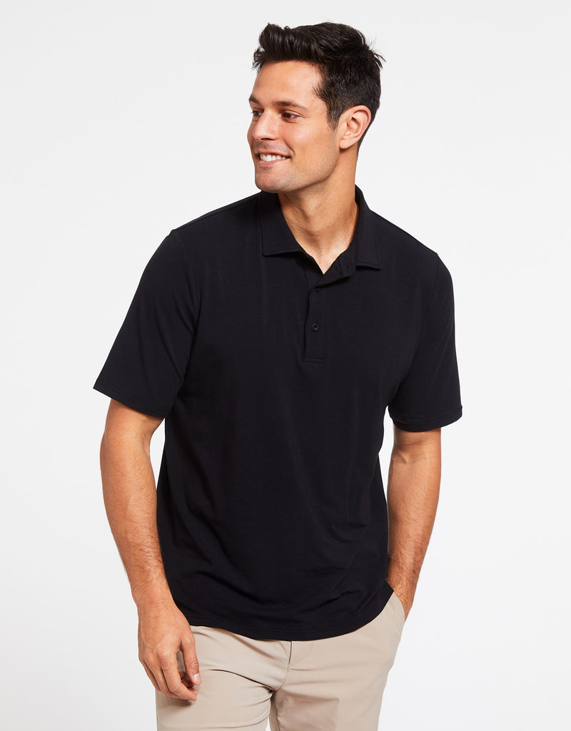 Solbari Sun Protection Men's UPF50+ Short Sleeve Polo Shirt in Black Sensitive Collection