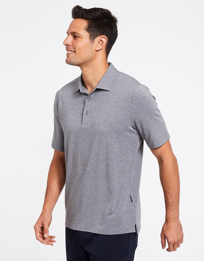 Solbari Sun Protection Men's UPF50+ Short Sleeve Polo Shirt in Dark Grey Marle Sensitive Collection