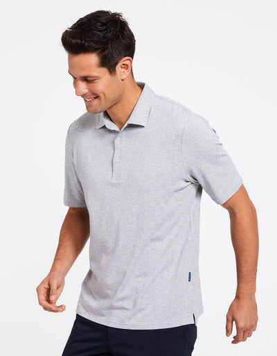 Solbari Sun Protection Men's UPF50+ Short Sleeve Polo Shirt in Light Grey Marle Sensitive Collection
