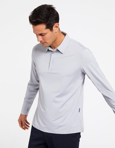 Solbari Sun Protection Men's UPF50+ Long Sleeve Polo Shirt Active Collection in Light Grey