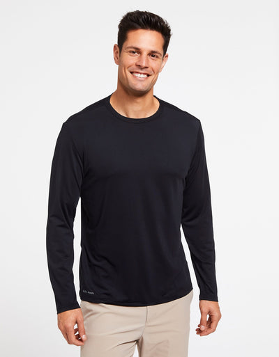Solbari Sun Protection Men's UPF50+ Long Sleeve T-Shirt Active Collection in Black