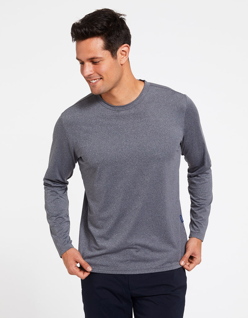 Solbari Sun Protection Men's UPF50+ Long Sleeve T-Shirt Active Collection in Dark Grey