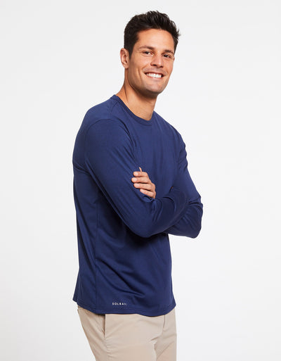 Solbari Sun Protection Men's UPF50+ Long Sleeve T-Shirt Active Collection in Dark Navy