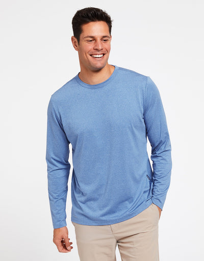 Solbari Sun Protection Men's UPF50+ Long Sleeve T-Shirt Active Collection in Ocean Blue