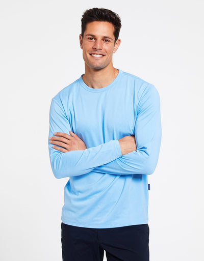 Solbari Sun Protection Men's UPF50+ Long Sleeve T-Shirt Active Collection in Sky Blue