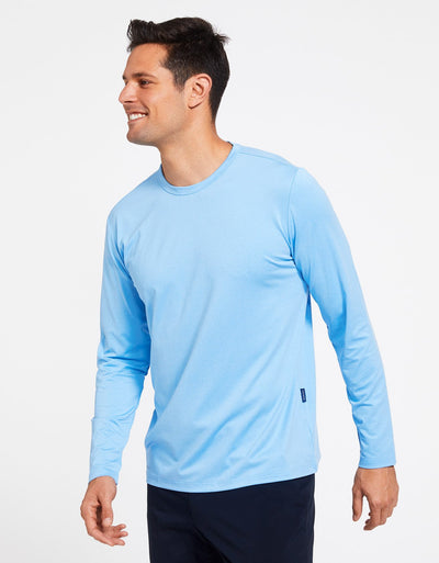 Solbari Sun Protection Men's UPF50+ Long Sleeve T-Shirt Active Collection in Light Blue