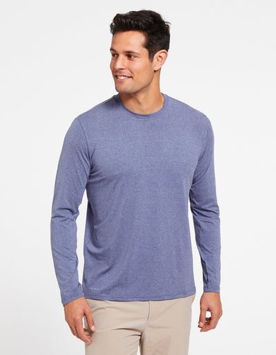 Solbari Sun Protection Men's UPF50+ Long Sleeve T-Shirt Active Collection in Steel Blue