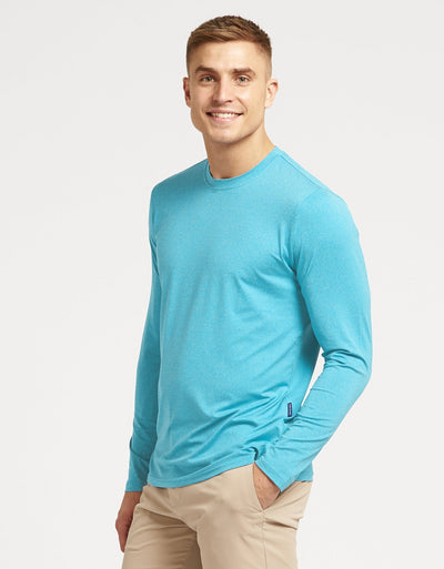 Solbari Sun Protection Men's UPF50+ Long Sleeve T-Shirt Active Collection in Arctic Blue