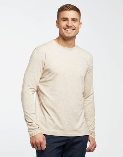 Solbari UPF 50+ Sun Protection Oatmeal Long Sleeve T-Shirt Sensitive Collection for Men