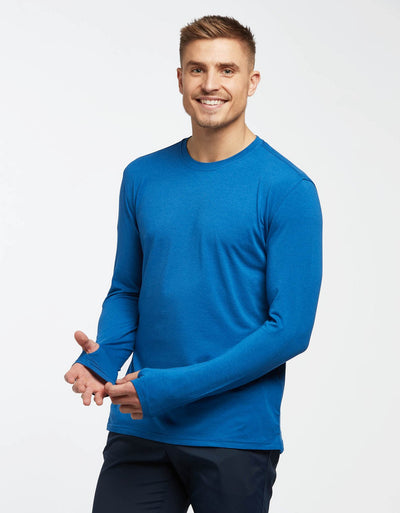 Solbari UPF 50+ Sun Protection Royal Blue Long Sleeve T-Shirt Sensitive Collection for Men
