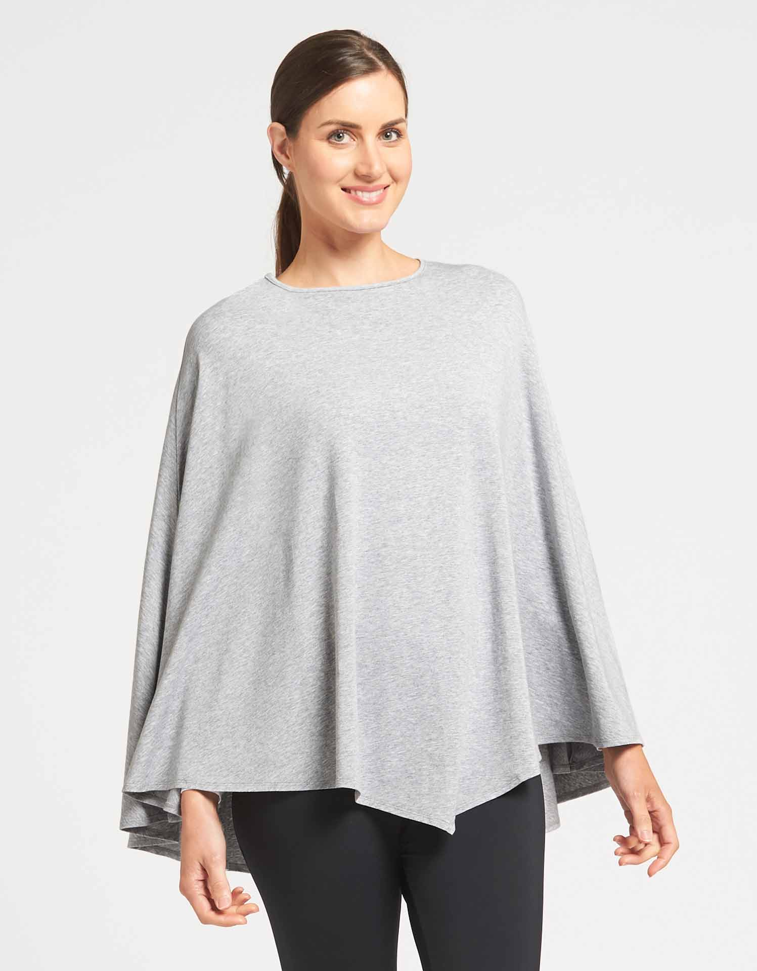 Solbari Sun Protection Clothing UPF50+ Protective Poncho in Light Grey Marle