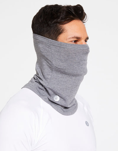 Solbari Sun Protection Curved Face & Neck Gaiter in Dark Grey Marle Sensitive Collection