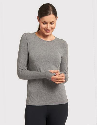 Solbari Sun Protection UPF50+ Women's Long Sleeve T-Shirt Sensitive Collection in Dark Grey Marle