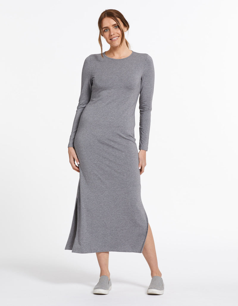 Solbari Sun Protection UPF50+ Women's Long Sleeve Maxi Dress Sensitive Collection in Dark Grey Marle