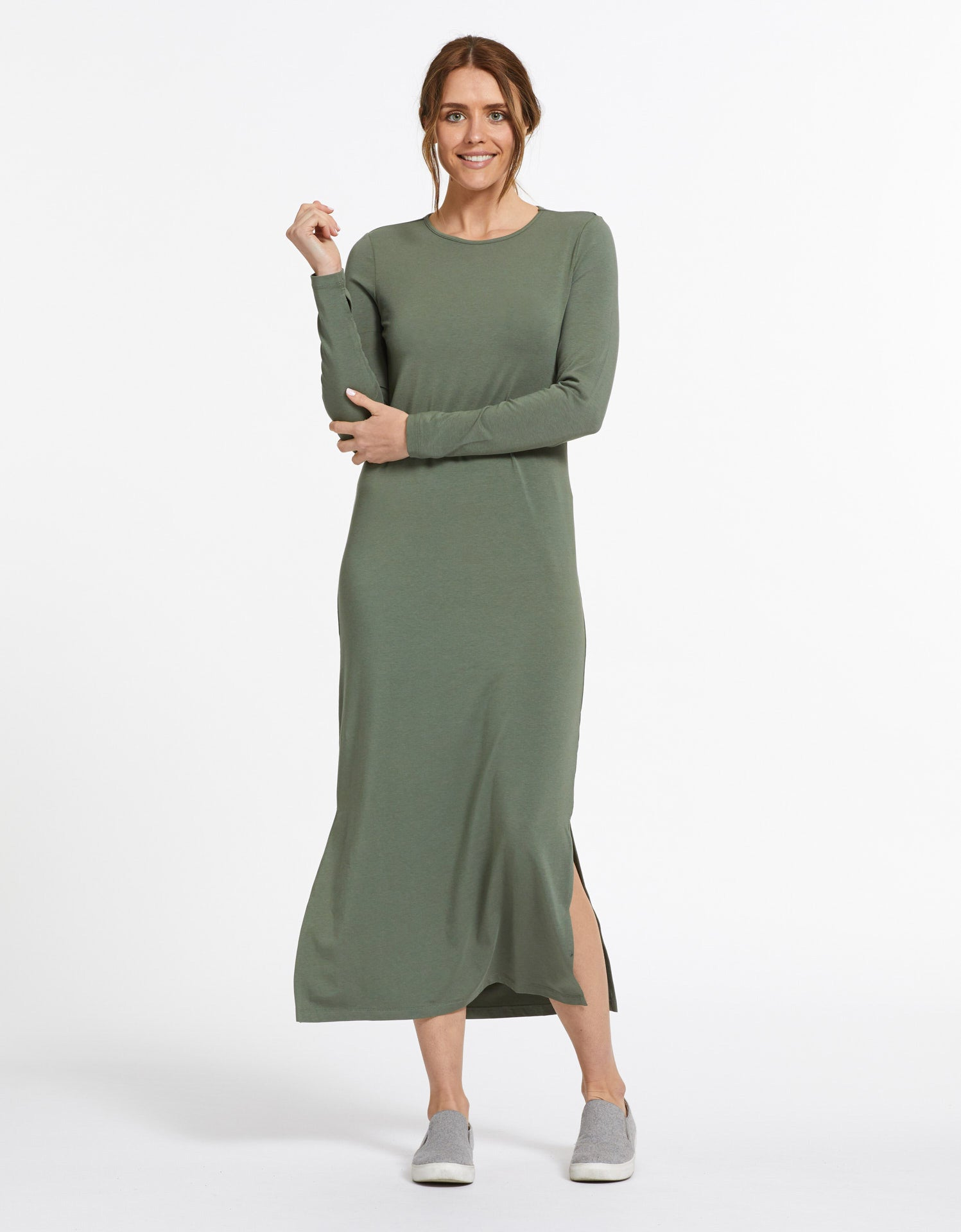 Solbari Sun Protection UPF50+ Women's Long Sleeve Maxi Dress Sensitive Collection in Eucalyptus