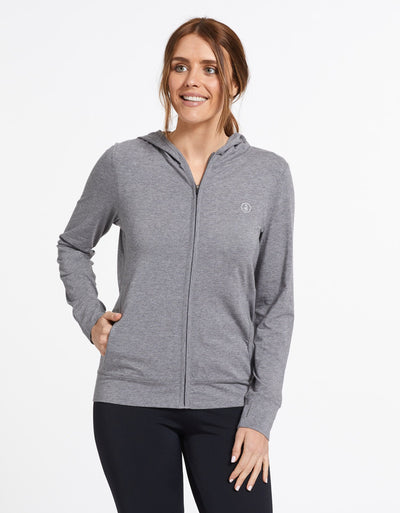 Solbari Sun Protection UPF50+ Women's Luxe Hooded Full Zip Top Sensitive Collection in Dark Grey Marle