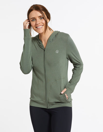 Solbari Sun Protection UPF50+ Women's Luxe Hooded Full Zip Top Sensitive Collection in Eucalyptus Green