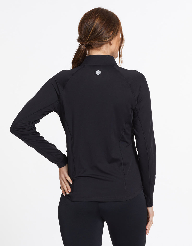 Solbari Sun Protection UPF50+ Women's Quarter Zip Top Sensitive Collection in Black