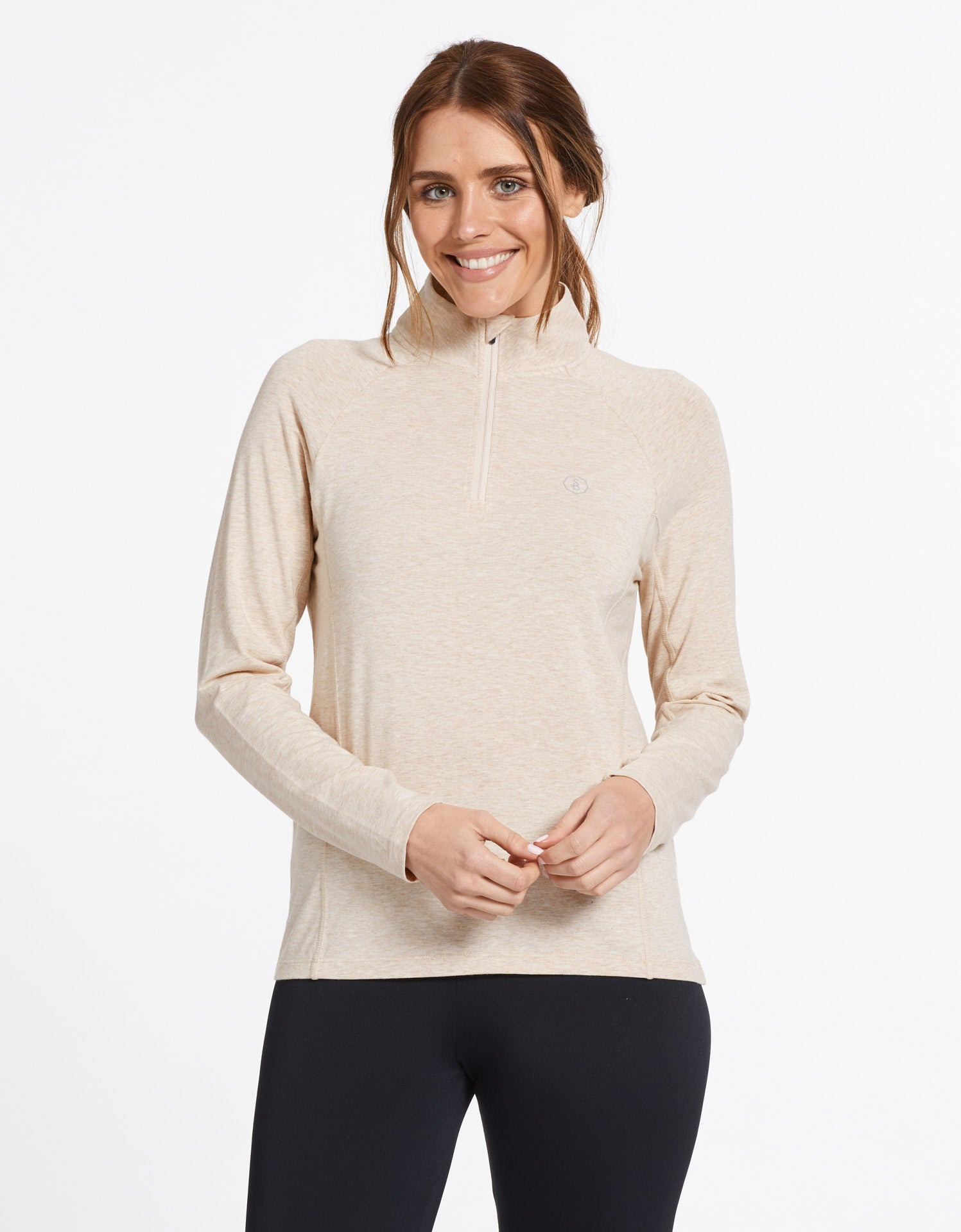 Solbari Sun Protection UPF50+ Women's Quarter Zip Top Sensitive Collection in Oatmeal