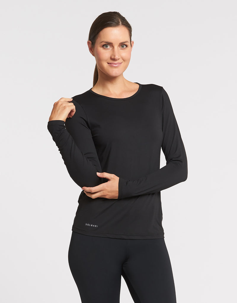 Solbari Sun Protection UPF50+ Women's Long Sleeve T-shirt Active Collection in Black
