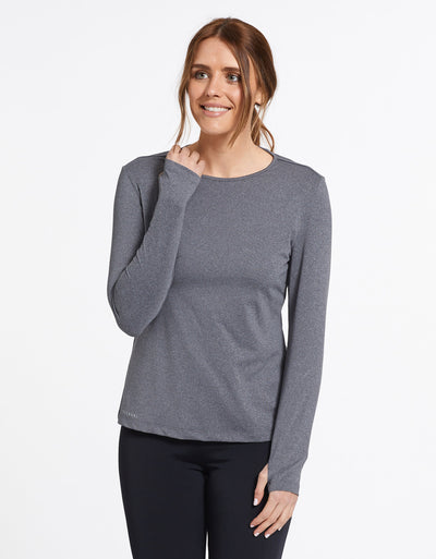 Solbari Sun Protection UPF50+ Women's Long Sleeve T-shirt Active Collection in Dark Grey