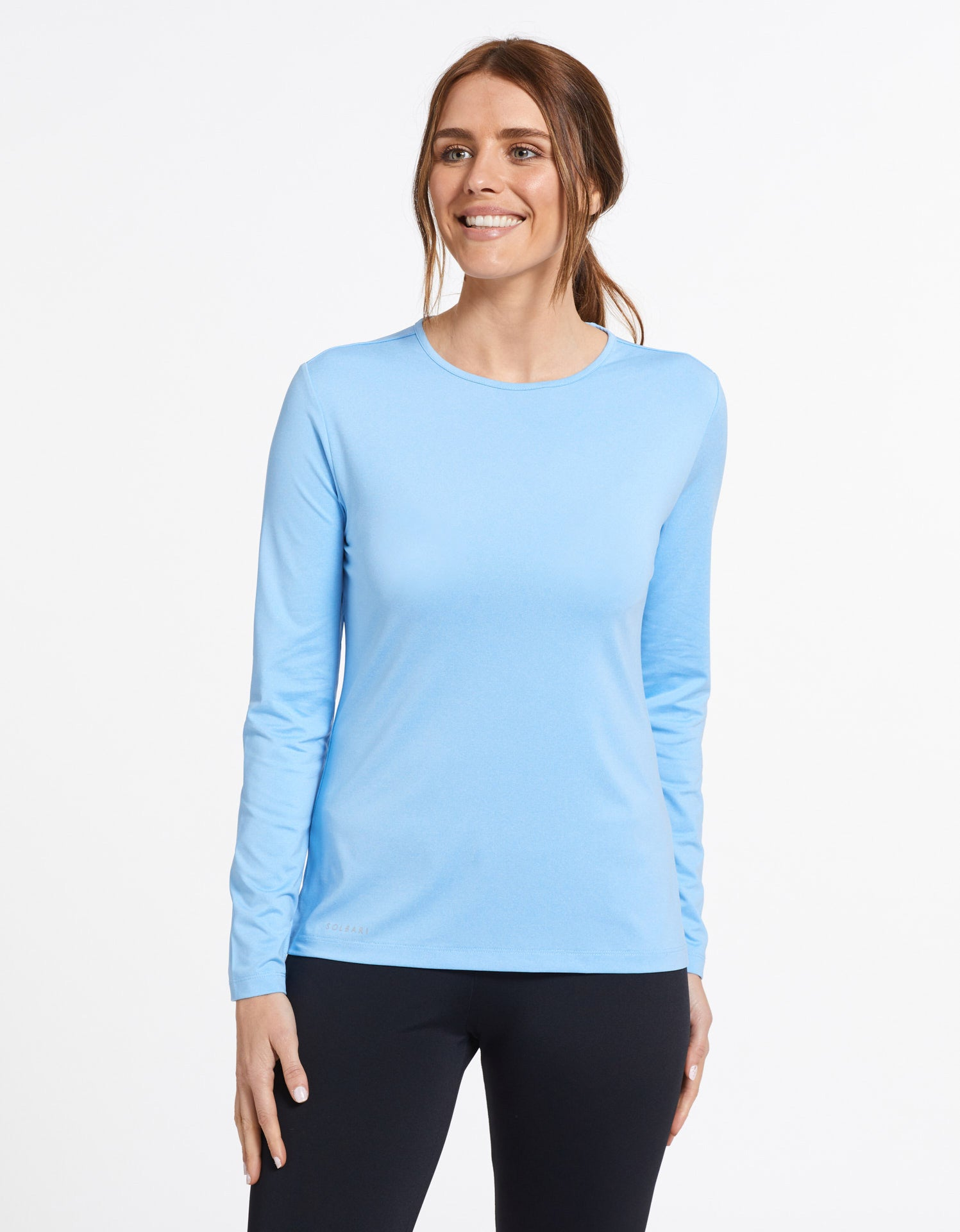 Solbari Sun Protection UPF50+ Women's Long Sleeve T-shirt Active Collection in Sky Blue
