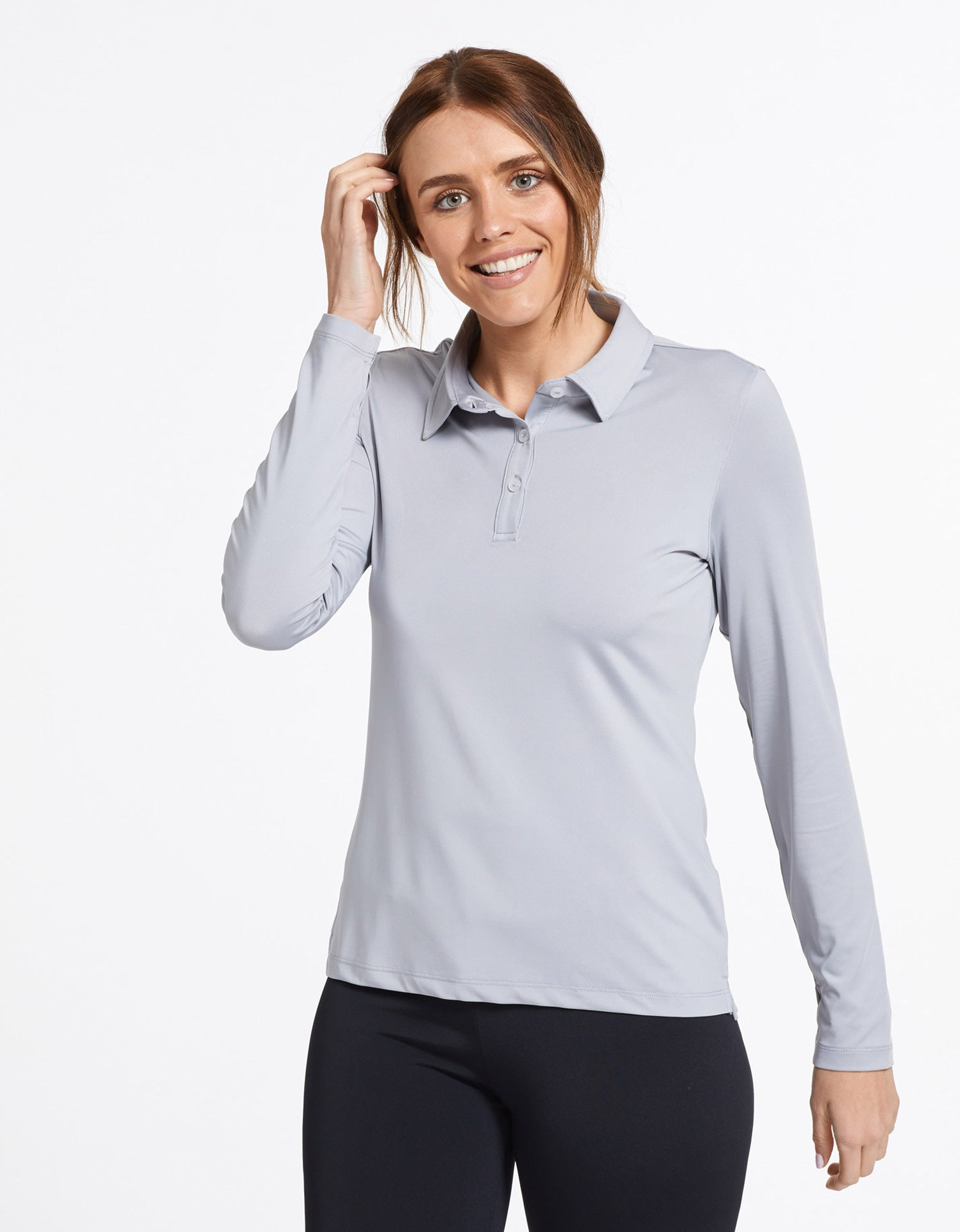 Solbari Sun Protection Women's UPF50+ Active Long Sleeve Polo Shirt in Light Grey