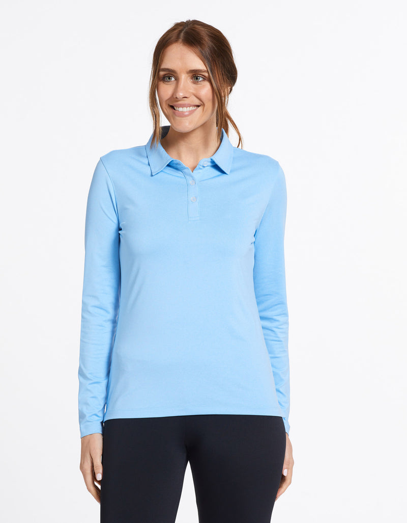 Solbari Sun Protection Women's UPF50+ Active Long Sleeve Polo Shirt in Sky Blue