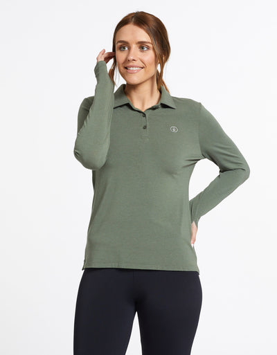 Solbari Sun Protection UPF50+ Women's Long Sleeve Polo Sensitive Collection in Eucalyptus