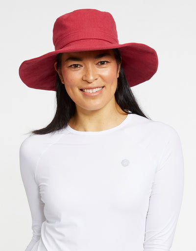 Solbari Sun Protection UPF50+ Womens Linen Blend Vacation Sun Hat in Strawberry
