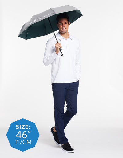 Solbari Sun Protection Men UPF50+ Protective Compact Umbrella in Silver with Green Underside