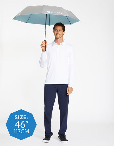 Solbari Sun Protection Men UPF50+ Protective Compact Umbrella in Silver with Sky Blue Underside