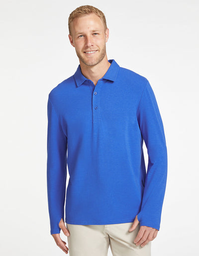 Solbari Sun Protection Men's UPF50+ Long Sleeve Polo in Cobalt Sensitive Collection