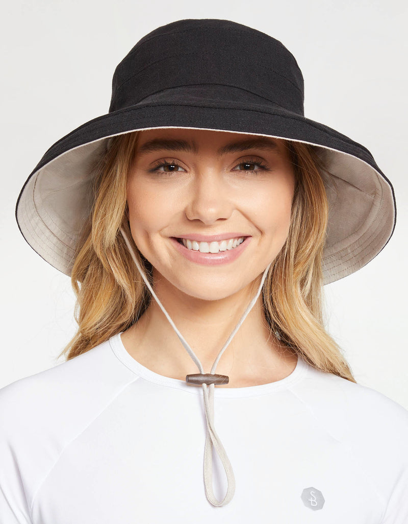 Solbari Sun Protection Women UPF50+ Holiday Reversible Sun Hat in Black / Beige