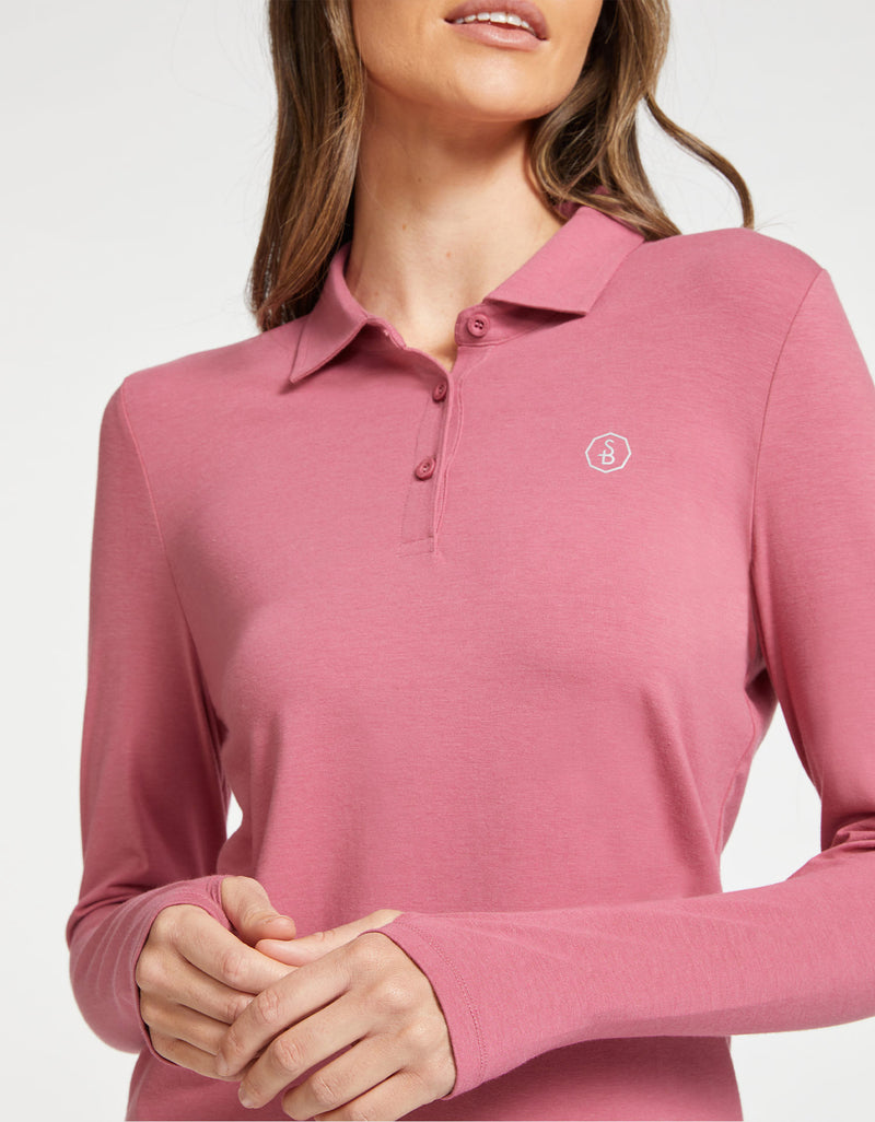 Solbari Sun Protection UPF50+ Women Long Sleeve Polo Shirt Sensitive Collection in Rosewood