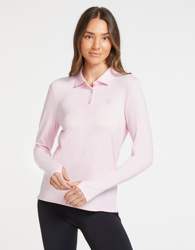 Solbari Sun Protection UPF50+ Women Long Sleeve Polo Shirt Sensitive Collection in Light Pink