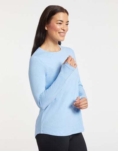 Solbari Sun Protection Women's UPF50+ Long Sleeve Swing Top in Light Blue Sensitive Collection