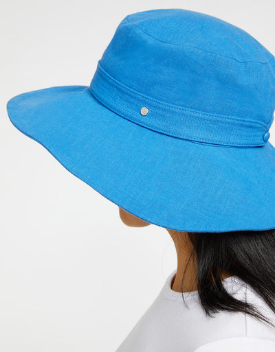 Solbari Sun Protection UPF50+ Womens Linen Blend Vacation Sun Hat in Blue