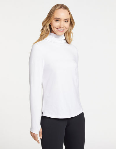 Solbari Sun Protection Women UPF50+ Ultimate Long Sleeve High Neck T-shirt in White Sensitive Collection