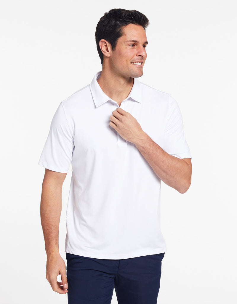 Solbari Sun Protection Men's UPF50+ Active Short Sleeve Polo in White