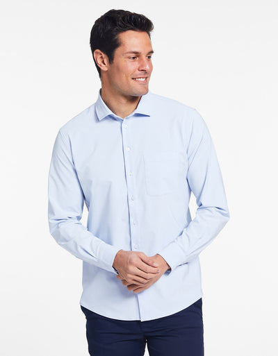 Solbari Sun Protection UPF50+ Men's Business Shirt in Light Blue Dry Flex Collection